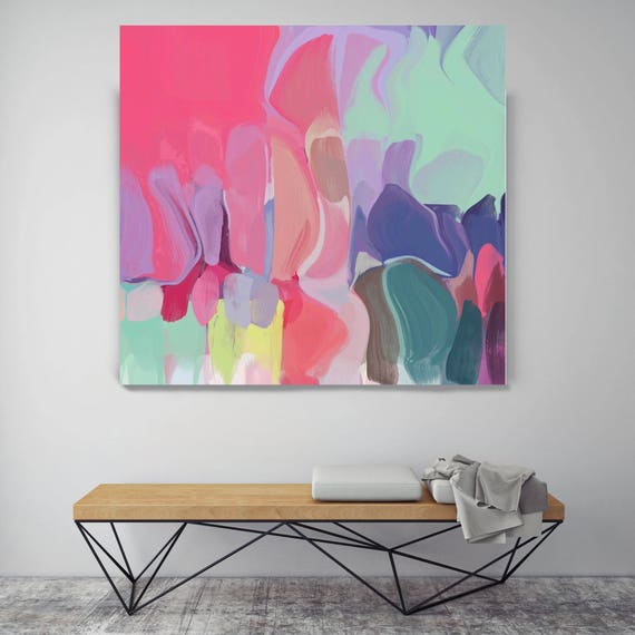 "Melodies 2. Original Oil Painting on Canvas, Contemporary Abstract Blue, Red, Pink, Teal Trend Color Oil Painting up to 50"" by Irena Orlov"