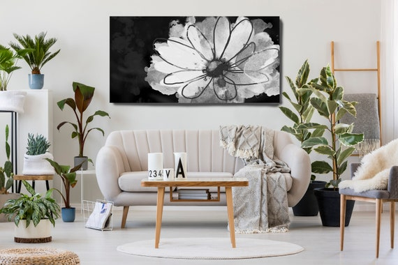 Pretty flower. Floral Painting, White Black Abstract Art, White Floral Painting, Black White Floral Decor, Floral Canvas Print