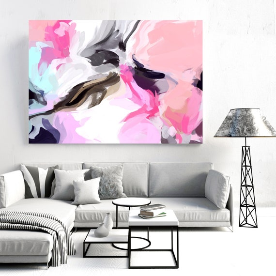 """Courage of Surprise 2, Abstract Painting Modern Wall Art Painting Canvas Art Print Art Modern Pink Blue Black up to 80"""" by Irena Orlov"""