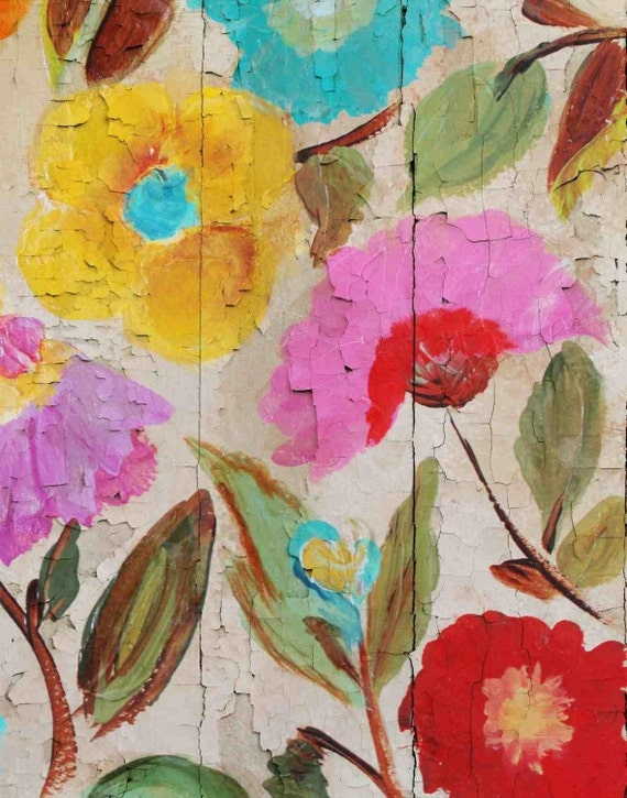 """Joyful Summer garden III. Floral Painting, Pink Red Yellow Abstract Art, Colorful Contemporary Canvas Art Print up to 72"""" by Irena Orlov"""