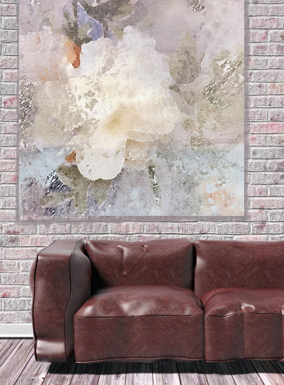 """ORL-7999-1 Floral Heaven. Large White Rustic Floral Canvas Art Print Wall Decor, White Flower Wall Art Decor up to 45"""" by Irena Orlov"""