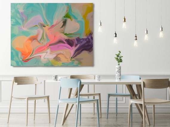 Original Art, Abstract, Canvas Print, Trending Now, Orange Pink Turquoise Painting Extra large Acrylic Painting on Canvas, Sensation