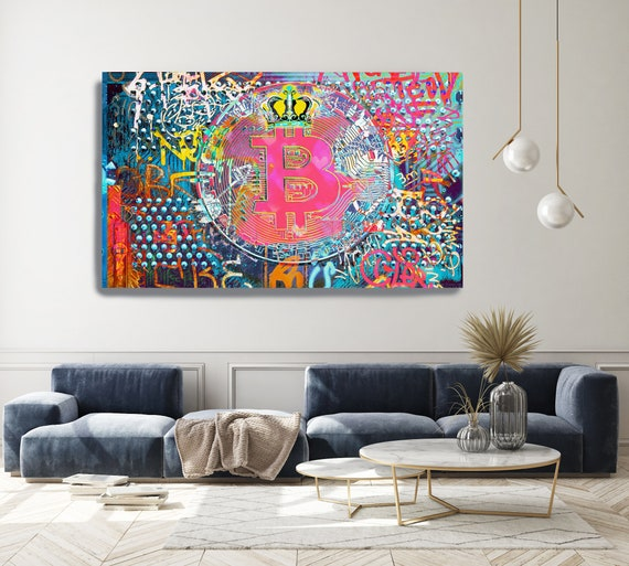 Bitcoin Pink Yellow Graffiti Abstract Canvas, Cryptocurrency Bitcoin Graffiti, Art Painting Print on Canvas, Bitcoin Artwork Canvas Print
