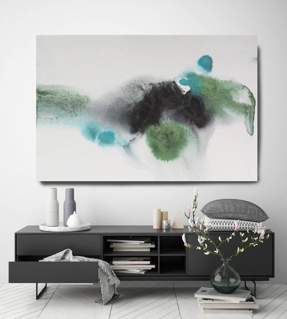 "Coastal Watercolor Abstract 109. Contemporary Abstract Green  Black Canvas Art Print, Extra Large Canvas Art Print up to 72"" by Irena Orlov"