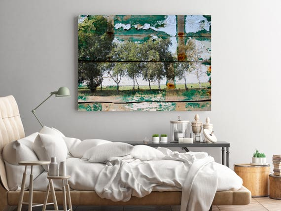 "ORL-11603-2 Rustic Landscape 8. Huge Rustic Landscape Painting Canvas Art Print, Extra Large Green Canvas Art Print up to 80"" by Irena Orlov"