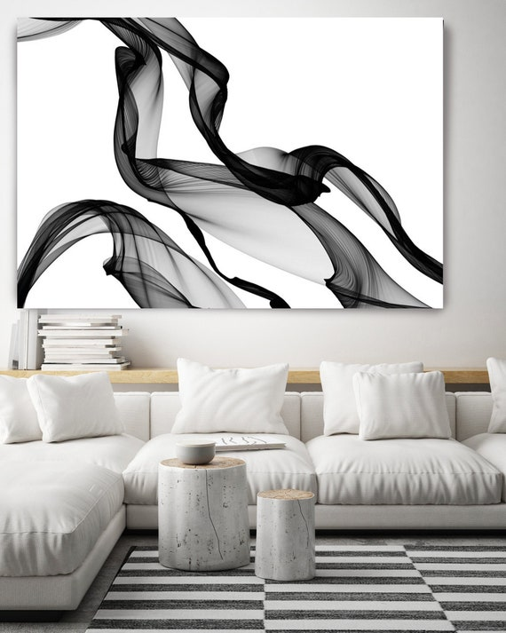 "The Invisible World-Movement 15, 60H x 40W"", Original Minimalist New Media Abstract Black And White Work on Canvas Investment Opportunity"