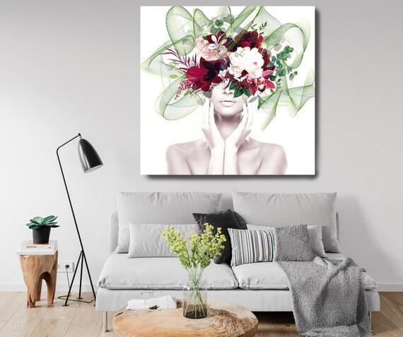 Woman Floral Portrait, Flower head woman Canvas Print, Floral Wall Art, Equivalent Exchange, Floral Head Woman Print, Woman Fashion Art