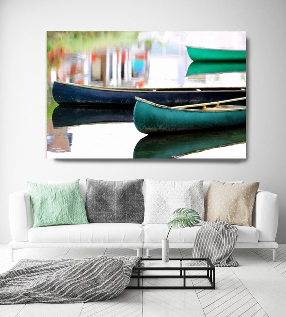 Green Boats early morning 2 Beach Decor, Boat, Coastal Wall Canvas Art Print, Fishing Boat, Seascape Painting, nautical, ocean, boats, water