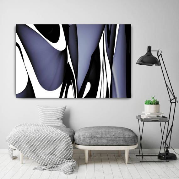 "Mid Century Abstract 9. Mid-Century Modern Black Blue Canvas Art Print, Mid Century Modern Canvas Art Print up to 72"" by Irena Orlov"