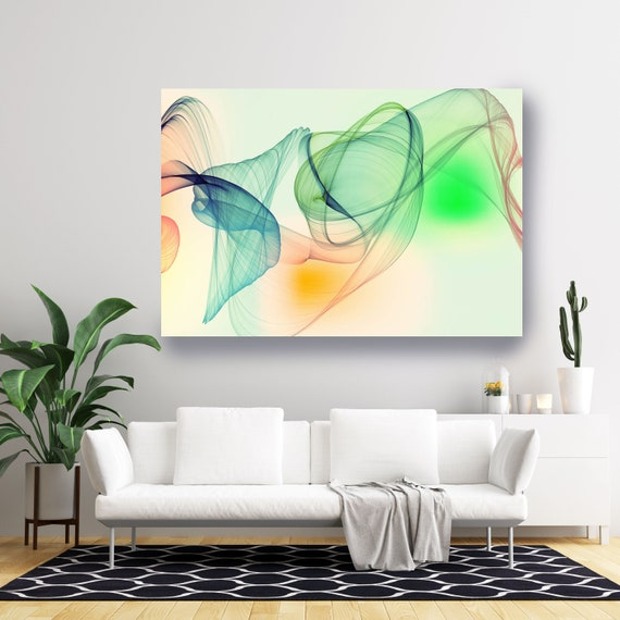 Yellow Green Extra Large Wall Art Abstract Art Contemporary Art Large Abstract Canvas Print, Flow Abstract New Media Gradient 7, Minimalist