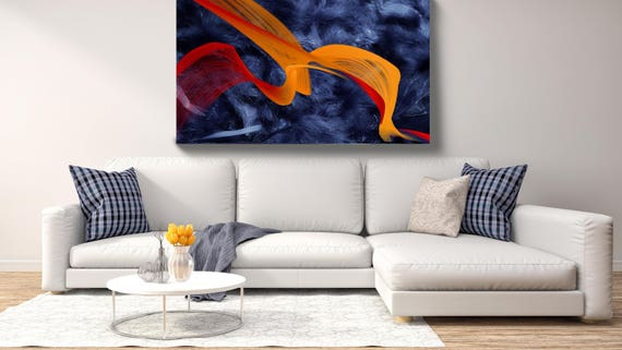 """Feather Breeze 25. Abstract New Media Art, Wall Decor, Extra Large Abstract Blue Red Canvas Art Print up to 72"""" by Irena Orlov"""