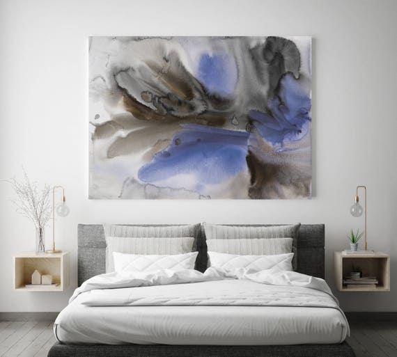 """Watercolor Symphony 45. Watercolor Abstract Blue Black Canvas Art Print up to 72"""" by Irena Orlov"""