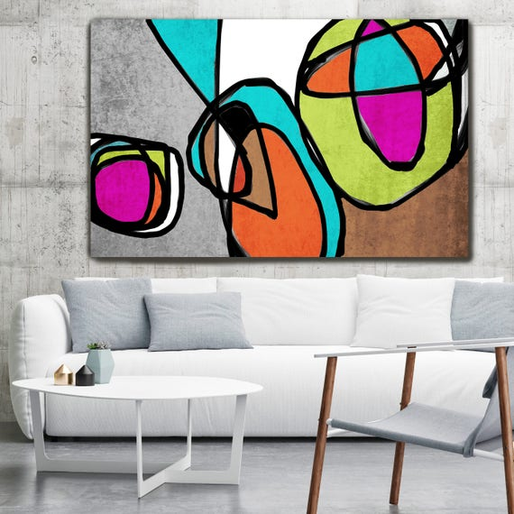 "Vibrant Colorful Abstract-68-2889. Mid-Century Modern Colorful Canvas Art Print, Mid Century Canvas Art Print up to 72"" by Irena Orlov"