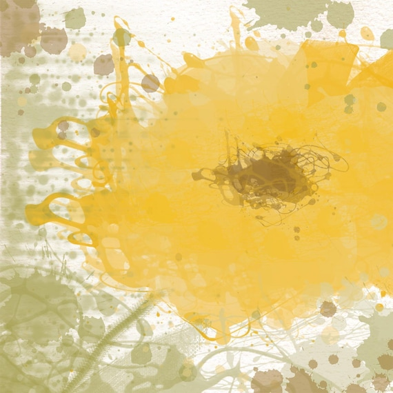 Yellow splash. Large wall art, flower canvas art print, fine art print, Abstract splash flower by Irena Orlov