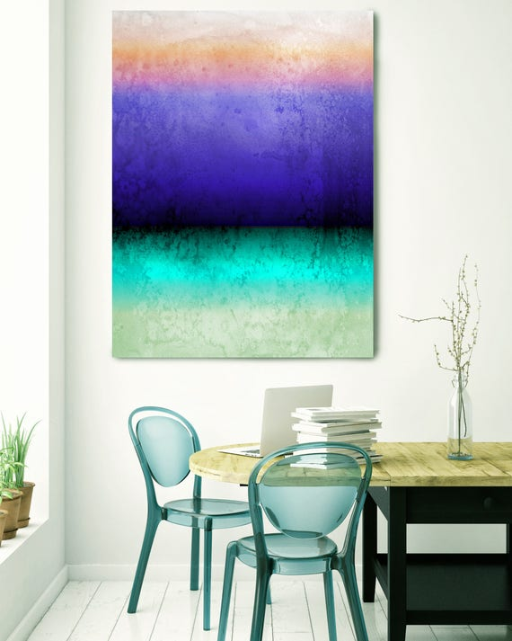 "Inspired by Rothko 72, Watercolor Abstract Blue Purple Green Canvas Art Print, Watercolor Painting Print up to 72"" by Irena Orlov"