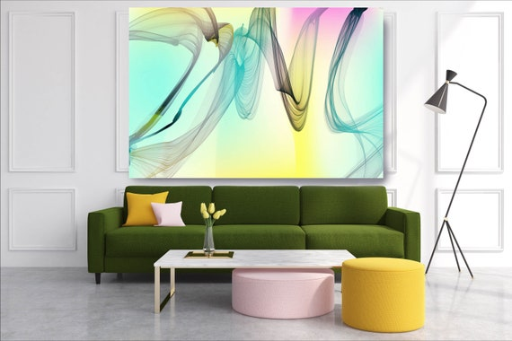 Green Abstract Painting Flow Abstract Art, Contemporary Canvas Art Print, New Media Artwork The Invisible World-Movement 3, Line Art