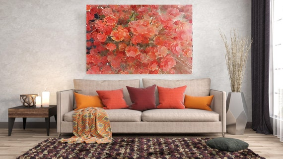 "ORL-8056-1 Red Blossoms. Floral Painting, Red Abstract Art, Large Abstract Colorful Contemporary Canvas Art Print up to 72"" by Irena Orlov"