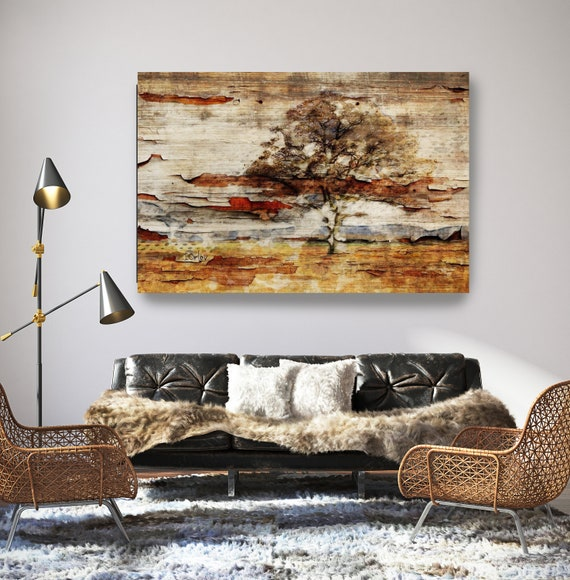 "Nature. Huge Rustic Landscape Painting Canvas Art Print, Extra Large Beige Brown Gray Canvas Art Print up to 80"" by Irena Orlov"