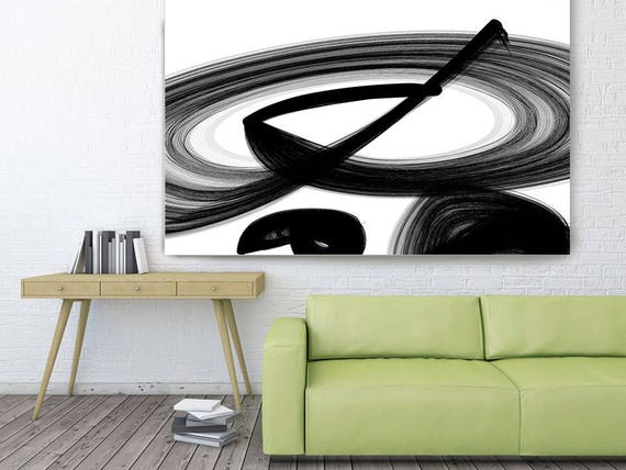 "The action or process. Abstract Black and White, Unique Abstract Wall Decor, Large Contemporary Canvas Art Print up to 72"" by Irena Orlov"