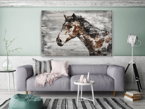 "Mister X, Horse. Extra Large Horse, Horse Wall Decor, Brown Rustic Horse, Large Textured Canvas Art Print up to 72"" by Irena Orlov"