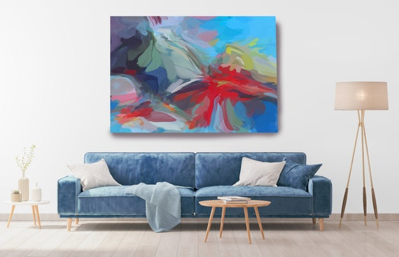 Blue City, Blue Red Abstract Painting, Abstract Multicolor Painting, Abstract Canvas Art Print, Blue Flow