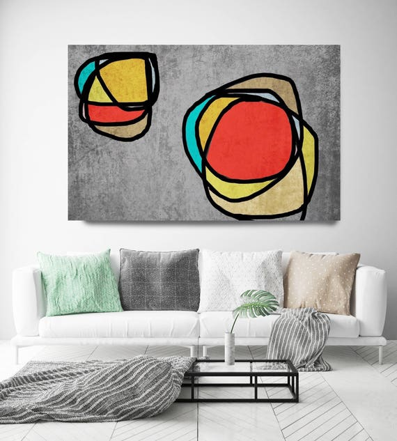"Vibrant Colorful Abstract-0-47. Mid-Century Modern Red Gray Canvas Art Print, Mid Century Modern Canvas Art Print up to 72"" by Irena Orlov"