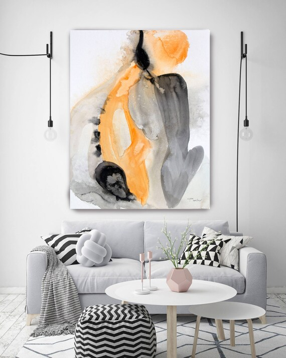 "In Love. Watercolor Abstract Yellow Black Canvas Art Print, Watercolor  Painting Print up to 72"" by Irena Orlov"