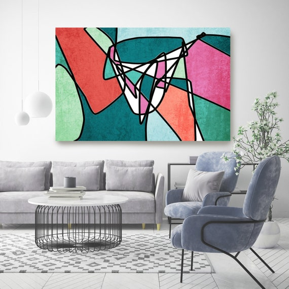 Mid Century Teal Pink Canvas Print, Midcentury Modern, Abstract Art, Midcentury Canvas Print, Wall Art, Retro Home Decor Brand