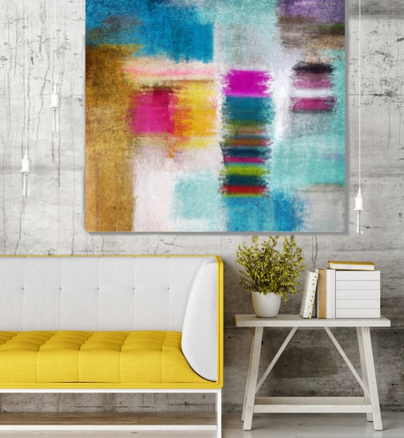 """Abstract Rhythms NO 36. Blue Pink Yellow Abstract Canvas Print, Large Abstract Colorful Canvas Art Print up to 48"""" by Irena Orlov"""