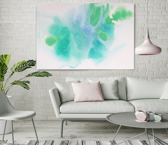 "Aqua Green Dream. Contemporary Abstract Green Aqua Canvas Art Print up to 72"", Extra Large Abstract Canvas Art Print by Irena Orlov"