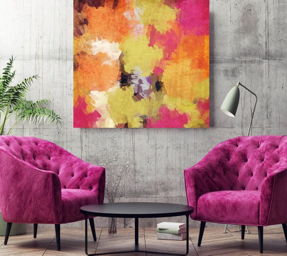 "Kaleidoscope N 37-2. Abstract Paintings Art, Wall Decor Extra Large Abstract Yellow Orange Pink Canvas Art Print up to 48"" by Irena Orlov"