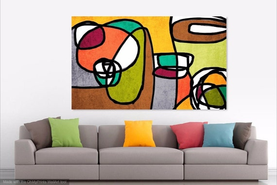 Vibrant Colorful Abstract-0-9. Mid century Modern Art, Mid century Painting , Mid Century Canvas Print, Mid-Century Artwork, Modern Artwork
