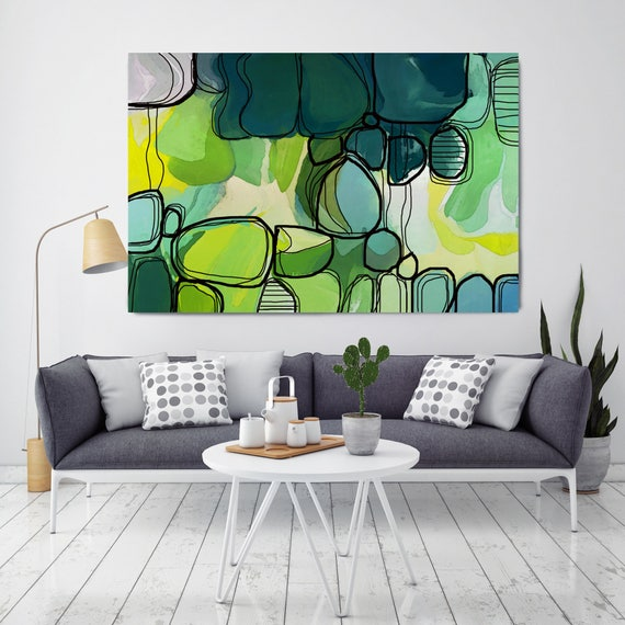 "Relaxed Vibe. Green Abstract Art, Wall Decor, Extra Large Abstract Colorful Contemporary Canvas Art Print up to 72"" by Irena Orlov"