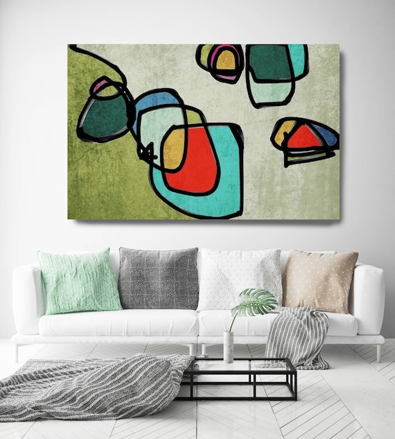 "Vibrant Colorful Abstract-0-58. Mid-Century Modern Green Red Canvas Art Print, Mid Century Modern Canvas Art Print up to 72"" by Irena Orlov"