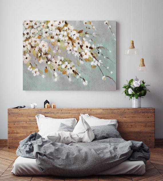 Cherry Tree. Floral Painting, blossoms canvas art print, blooming tree painting, flowers botanical wall canvas art print
