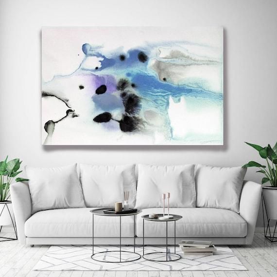 "Coastal Watercolor Abstract 66-3. Watercolor Abstract Blue Gray Black Canvas Art Print, Watercolor Painting Print up to 72"" by Irena Orlov"