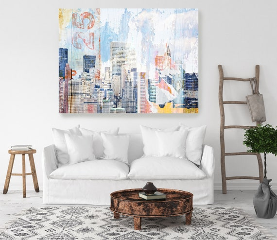 New York, Collage. Extra Large Industrial New York Cityscape Canvas Print, Urban Rustic Wall Art, Blue Red Multicolor Art by Irena Orlov