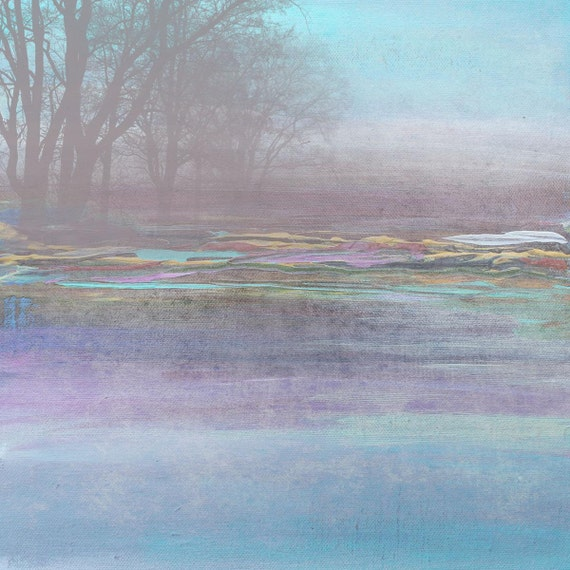 """Huge Rustic Landscape Painting Canvas Art Print, Extra Large Blue Purple Green Yellow Canvas Art Print up to 50"""" by Irena Orlov"""
