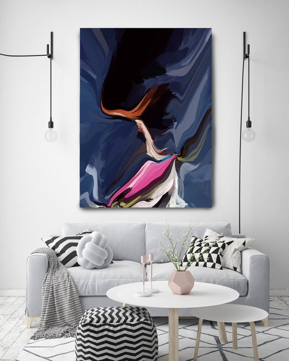 Behind your Shadow, Original Art, Abstract, Canvas Print, Trending Now, Blue Pink Painting Extra large Acrylic Painting on Canvas