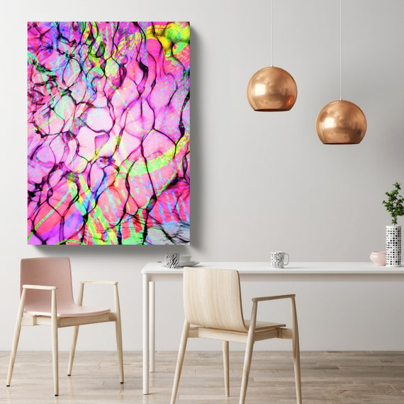 Pink Abstract Water Waves, Coastal Modern Pink Canvas Art Print, Contemporary Coastal Abstract, Abstract Water Canvas Print