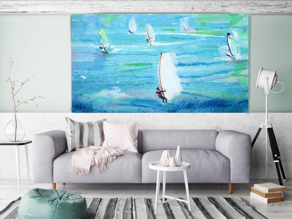 "Windsurfing. Extra Large Blue Coastal, Beach, Surfing Canvas Art Print, Surfers Art, Ocean Canvas Art Print up to 72"" by Irena Orlov"