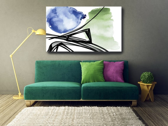 The Poetry of Color 3, Minimalist Art, Green Blue Gold Minimalist Art Painting Print on Canvas, Large Canvas Print, Minimal Canvas Print