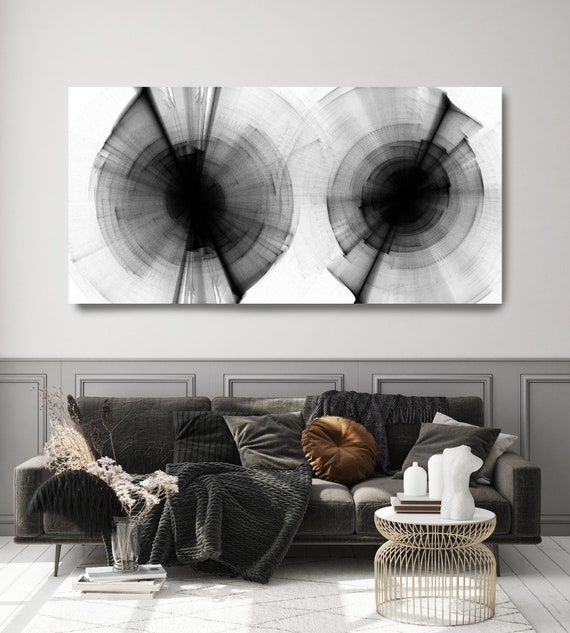 Black and White Modern Minimal 72, 40H x 80W inch, ORIGINAL New Media Abstract Black And White Painting on Canvas Minimalist Art