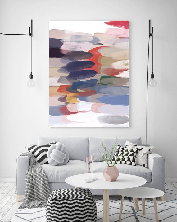 """Colorful Expression. Abstract Art, Wall Decor, Extra Large Abstract Blue Red Contemporary Canvas Art Print up to 72"""" by Irena Orlov"""