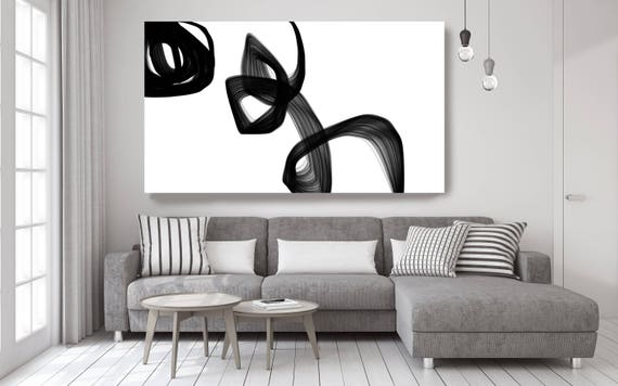 "Abstract Expressionism in Black And White 6. Unique Abstract Wall Decor, Large Contemporary Canvas Art Print up to 72"" by Irena Orlov"