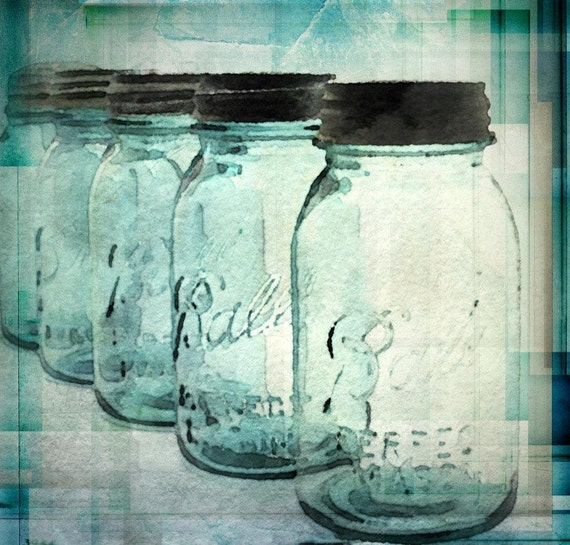 "Heritage Mason. Canvas Mason Jars Print up to 40"" by Irena Orlov"