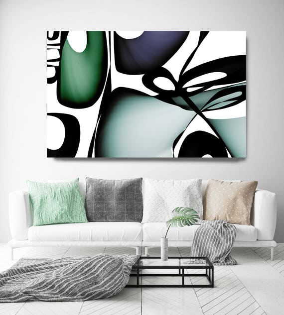 "Mid Century Abstract 11. Mid-Century Modern Green Black Canvas Art Print, Mid Century Modern Canvas Art Print up to 72"" by Irena Orlov"