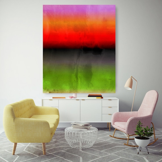 Abstract Minimalist Rothko Inspired 1-53. Abstract Painting Giclee of Original Wall Art, Orange Red Green Large Canvas Art Print up to 72""