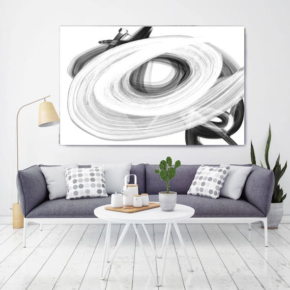 "Opening. Abstract Black and White, Contemporary Black and White Painting Print, Large Contemporary Canvas Art Print up to 72"" by Irena Orlov"