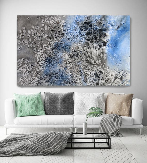 """Coastal Watercolor Abstract 17. Watercolor Abstract Blue Black Canvas Art Print up to 72"""" by Irena Orlov"""